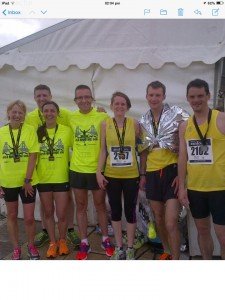 Some of the Cheddar runners who completed the Bristol 10K