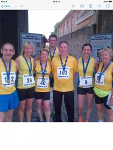 Cheddar runners at the Glastonbury 10K