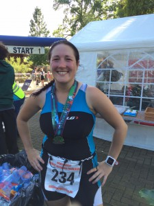 Maxine after successfully completing a half ironman