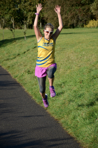 Sarah having too much fun at parkrun